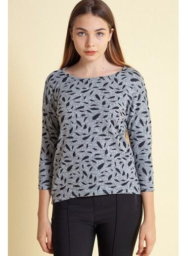 Modaset Yarım Kol Daire Desenli Bluz Gri Gri